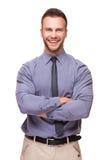 Młody przystojny mężczyzna ono uśmiecha się odizolowywam na bielu Obrazy Stock