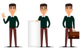 Młody przystojny uśmiechnięty biznesmen w mądrze przypadkowych ubraniach Set trzy ilustraci royalty ilustracja