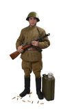Młody Radziecki żołnierz z jego ppsh 41 Fotografia Stock