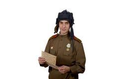 Młody Radziecki tankowa spojrzenie przy mapą Fotografia Stock