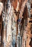 Młody Rockowego arywisty ściany prowadzenia wstępujący stromy kolorowy skalisty pięcie zdjęcia stock