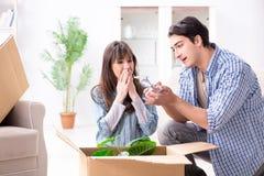 Młody rodzinny chodzenie wewnątrz nowy mieszkanie po płacić daleko mortgag Fotografia Royalty Free
