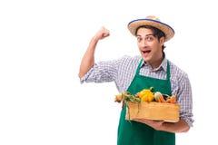 Młody rolnik z świeżym produkt spożywczy odizolowywającym na białym tle obraz royalty free