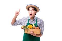 Młody rolnik z świeżym produkt spożywczy odizolowywającym na białym tle fotografia royalty free