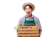 Młody rolnik z świeżym produkt spożywczy odizolowywającym na białym tle zdjęcia royalty free