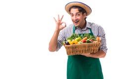 Młody rolnik z świeżym produkt spożywczy odizolowywającym na białym tle fotografia stock