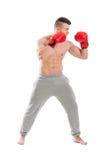 Młody, silny i mięśniowy facet jest ubranym bokserskie rękawiczki, Zdjęcia Stock