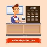 Młody sklepowy asystent słuzyć filiżankę kawy royalty ilustracja