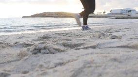 Młody sportowy kobieta bieg wzdłuż plaży zbiory wideo