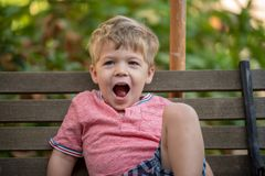 Młody Szczęśliwy berbeć chłopiec obsiadanie na ławce obraz royalty free
