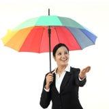 Młody szczęśliwy bizneswoman trzyma parasol Obraz Royalty Free