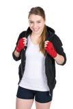 Młody uśmiechnięty żeński bokser Obrazy Stock