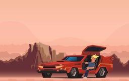 Młody uśmiechnięty faceta obsiadanie w czerwonym samochodzie wyścigowym na jar pustyni tle szczęśliwy podróżnik Płaska wektorowa  royalty ilustracja