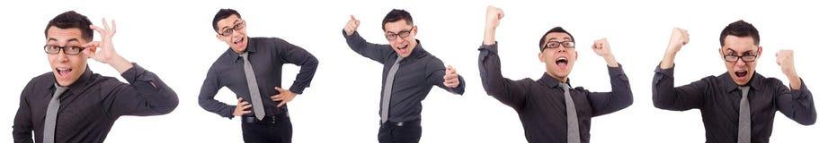Młody uśmiechnięty mężczyzna odizolowywający na bielu Zdjęcia Stock