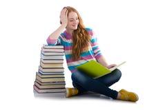 Młody uczeń z książkami obrazy royalty free
