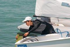 Młody yachtsman Pomorie Bułgaria obraz royalty free