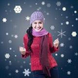Młody zimy dziewczyny wygranie royalty ilustracja