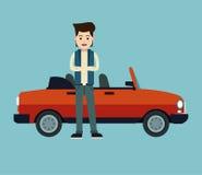 Młodych człowieków croos ręk elegancki odwracalny samochodowy sport ilustracji