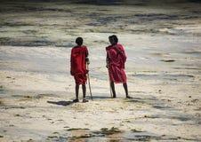 Młodych człowieków Masai w etnicznym odzieżowym odprowadzeniu wzdłuż plaży podczas niskiego przypływu Obraz Stock