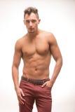 Młodych człowieków spodń bez koszuli ciała mięśniowy model zdjęcie royalty free