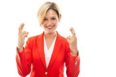 Młodzi ładni biznesowej kobiety seansu kopii palce krzyżujący zdjęcia royalty free