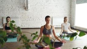 Młodzi żeńscy joga ucznie medytują w lotosowej pozyci w końcówce praktyka w pięknym lekkim studiu relaks zdjęcie wideo