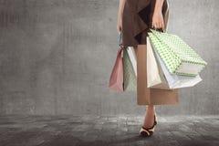 Młodzi azjatykci kobiety przewożenia torba na zakupy Fotografia Royalty Free