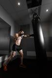 Młodzi bokserów pociągi na uderzać pięścią torbę Obraz Stock