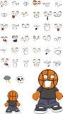 Młodzi gniewni koszykówki głowy dzieciaka kreskówki wyrażenia ustawiający Fotografia Stock