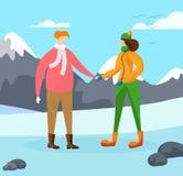 M?odzi Ludzie charakter zimy sezonu t?a ilustracji
