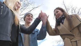 Młodzi ludzie chodzą w parku, mówją wiadomość, komunikują, śmiają się, dobry humor Stawia twój ręki wpólnie zdjęcie wideo