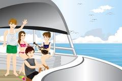 Młodzi ludzie jedzie motorową łódź Zdjęcia Stock