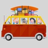 Młodzi ludzie jedzie samochód dostawczego 3d royalty ilustracja