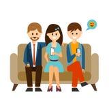 Młodzi Ludzie Komunikuje w Ogólnospołecznym Medialnym wektorze ilustracji