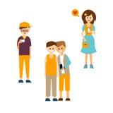Młodzi Ludzie Komunikuje z przyrządami Wektorowymi royalty ilustracja