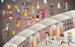 Młodzi ludzie ma zabawę w plenerowym klubie ilustracji