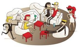 Młodzi ludzie ma zabawę w V.I.P holu royalty ilustracja