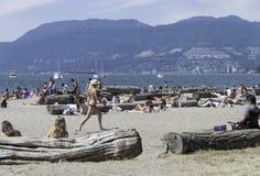 Młodzi ludzie relaksuje na Kitsilano Wyrzucać na brzeg w Vancouver, kolumbia brytyjska/Kanada zdjęcia royalty free