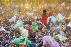 Młodzi ludzie są walczącymi poduszkami Fotografia Stock