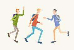 Młodzi Ludzie Studenckiego spotkania, nastolatka powitania komunikacja ilustracja wektor