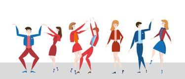 Młodzi ludzie tanczy na dancefloor Dyskoteki nocy przyjęcie Kolorowy płaski wektorowy ilustration, horyzontalny ilustracja wektor