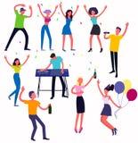 Młodzi ludzie tanczy w klubie i świętuje znacząco wydarzenia w ich życiach ilustracji