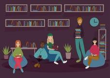 Młodzi ludzie w bibliotece czytającej rezerwują w miękkich krzesłach royalty ilustracja