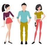Młodzi ludzie w modnych ubraniach Płaska wektorowa ilustracja Zdjęcia Stock