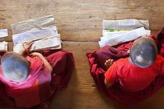 Młodzi michaelita studiuje, Chimi Lhakhang monaster obraz royalty free