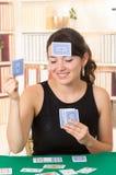 Młodzi piękni dziewczyn karta do gry Zdjęcia Royalty Free