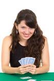 Młodzi piękni dziewczyn karta do gry Fotografia Stock