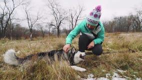 Młodzi piękni kobieta spacery, sztuki z jej husky psem przy zimą wokoło lasu i zbiory