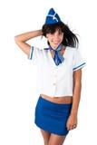 Młodzi piękni lotniczej gospodyni domu uśmiechy Obrazy Stock