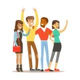 Młodzi przyjaciele Od Wszystko Stoi brać obrazek Dookoła Świata, Szczęśliwa Międzynarodowa przyjaźń wektoru kreskówka ilustracja wektor